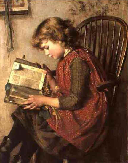Painting of small child reading a huge Bible