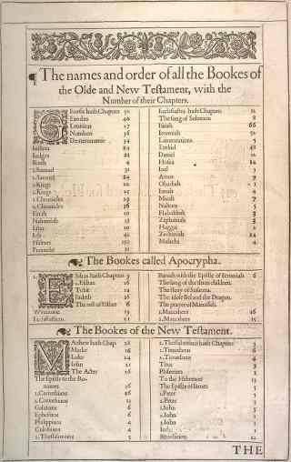 Scan of 1611 King James Version Table of Contents